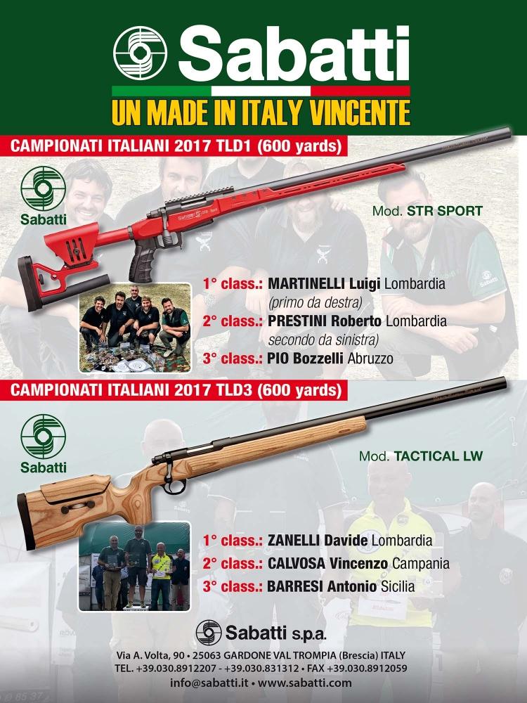 Le carabine Sabatti si fanno onore nel Campionato Italiano TLD 2017