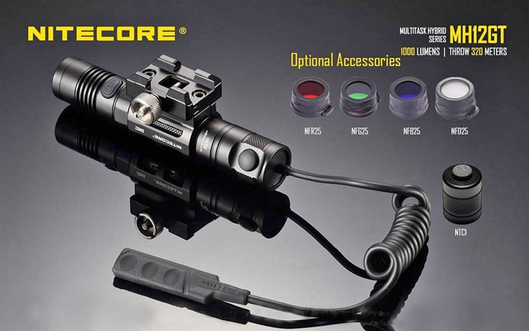 The optional tactical accessories available for the Nitecore MH12GT flashlight