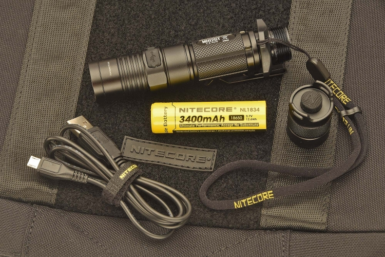 The flashlight uses a rechargeable Nitecore NL1834 3400mAh 18650 battery that can be recharged via a USB cable