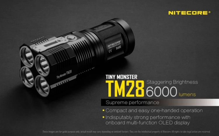 La Nitecore TM28 presenta un display OLED che consente all'utente di tenere sempre sotto controllo lo stato della torcia