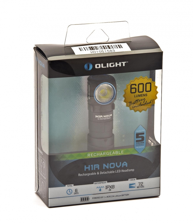 The Olight H1R Nova flashlight in its box