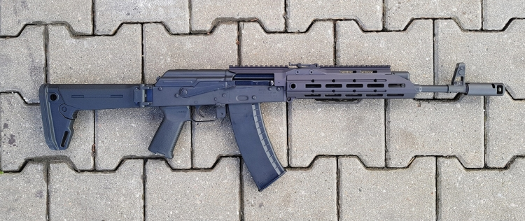 Choosing the right variant, you can install the SAG chassis on any AK/AKM variant – such as this Bulgarian, 5.45mm caliber BSR-74