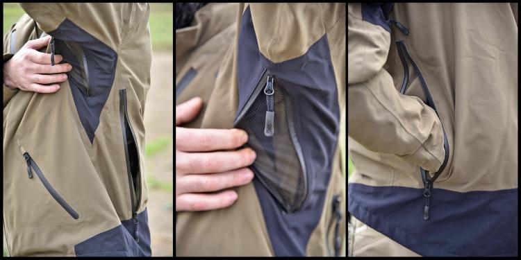 Le zip e le aperture di ventilazione sono ben fatte. Dietro la giacca si trova la tradizionale cacciatora, una grande tasca impermeabilizzata accessibile da ambo i lati