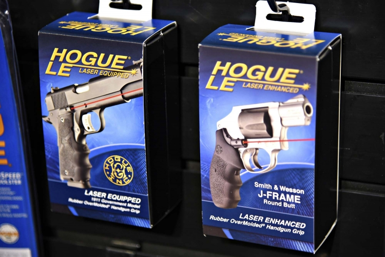 The new Hogue Laser Enhanced grips are currently available for 1911 pistols and S&W J frame revolvers