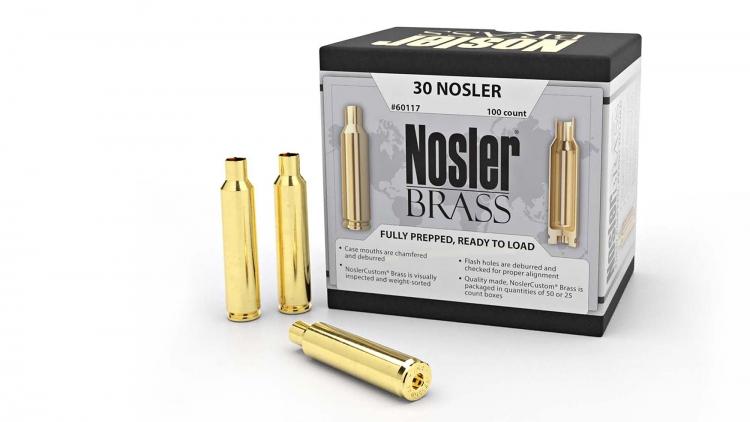 Per la sua nuova munizione calibro .30, la Nosler offre anche bossoli da ricarica di ottima qualità