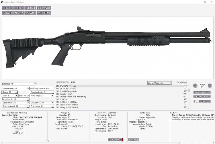 Per ciascuna arma è possibile effettuare confronti con le caratteristiche tecniche e balistiche di altri modelli