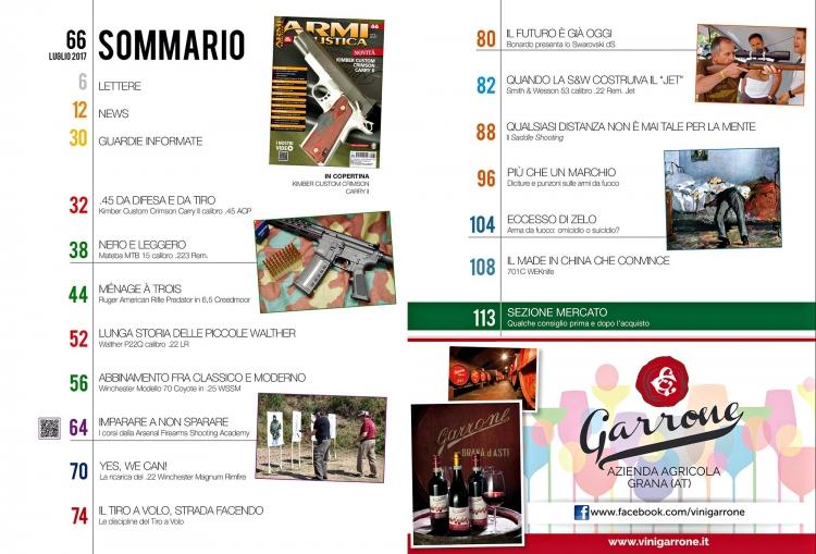 ARMI & BALISTICA numero 66 / luglio 2017 SOMMARIO