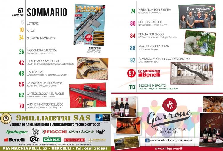 ARMI & BALISTICA numero 67 / agosto 2017 SOMMARIO