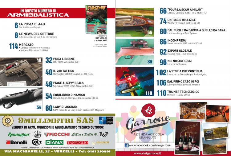 ARMI & BALISTICA numero 71 / Dicembre 2017 SOMMARIO