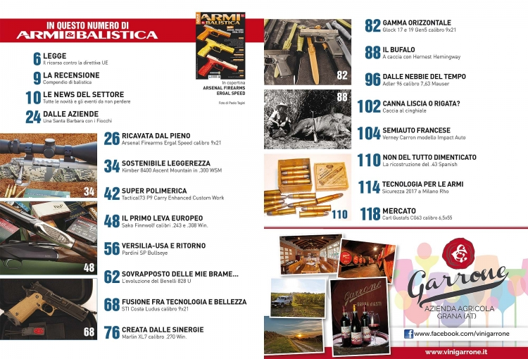 ARMI & BALISTICA numero 72 / Gennaio 2018 SOMMARIO