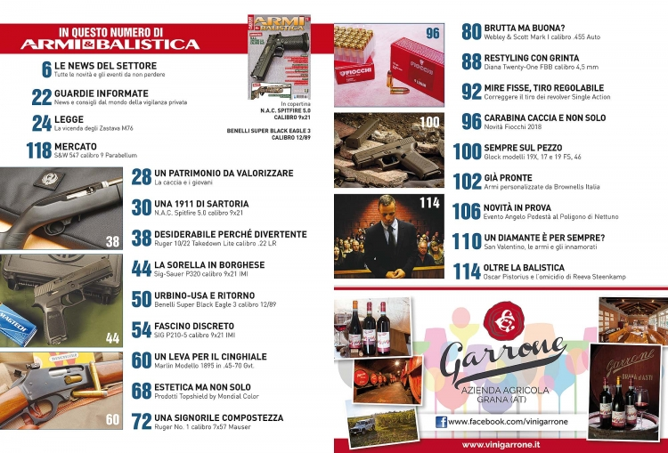 ARMI & BALISTICA numero 73 / febbraio 2018 SOMMARIO