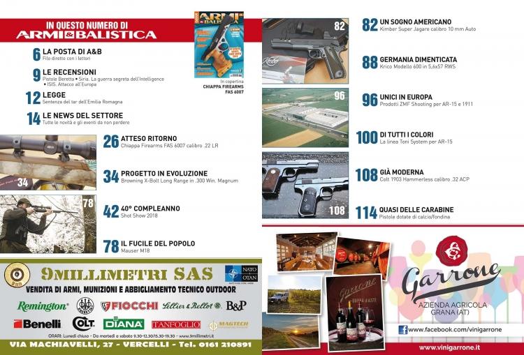 ARMI & BALISTICA numero 74 / marzo 2018 SOMMARIO