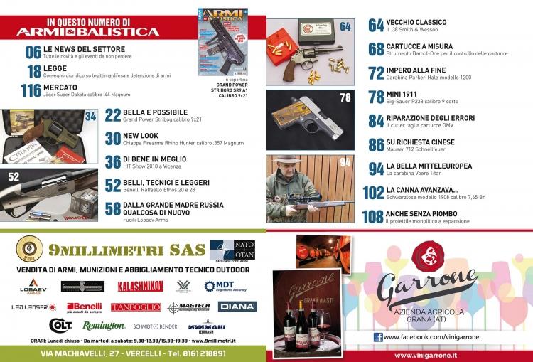 ARMI & BALISTICA numero 75 / aprile 2018 SOMMARIO