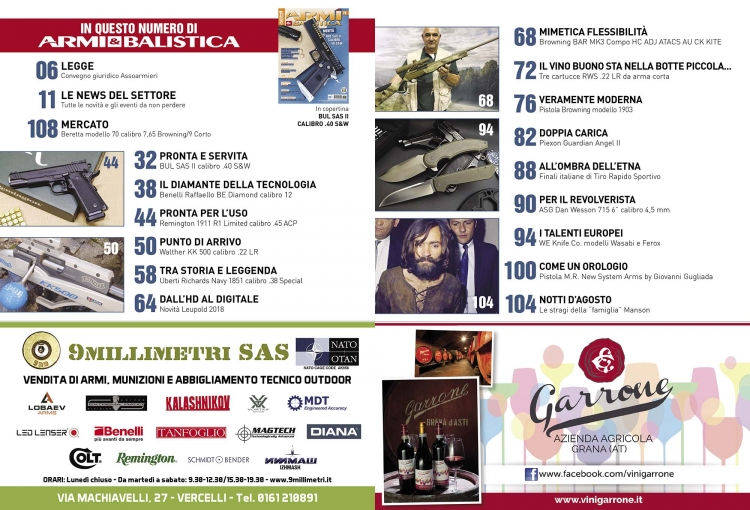 ARMI & BALISTICA numero 79 / settembre-ottobre 2018 SOMMARIO