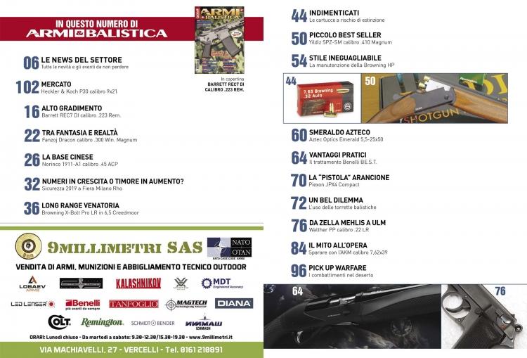 ARMI & BALISTICA numero 87 / Gennaio-Febbraio 2020 SOMMARIO