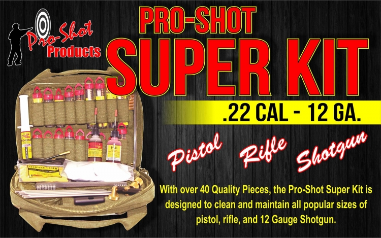 The new Pro Shot Super Kit for .22 to 12 Gauge calibers, from Pro Shot Products, one of the brands distributed by Waffen Ferkinghoff