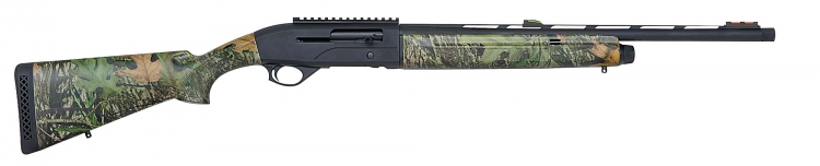 The Mossberg SA-20 Turkey shotgun features a matte blue metal finish; receiver-mounted top rail and dual sling swivel studs