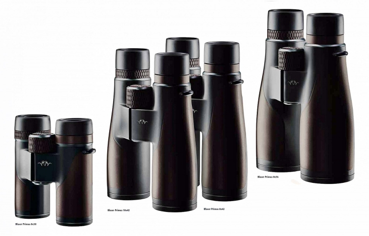 The lineup of Blaser's Primus binoculars, left to right: 8x30, 10x42, 8x42, 8x56