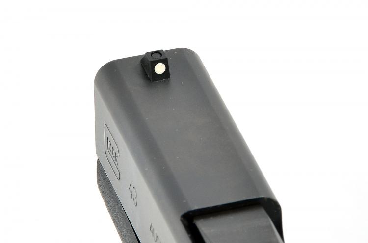 Il mirino della Glock G43 è dotato di dot verniciato bianco
