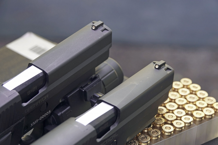 The iron sights feature white dots and are dovetailed to the slide