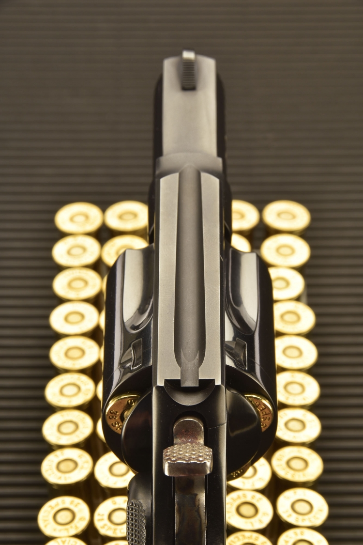 A view of the fixed sights of the Taurus 85 Defender revolver