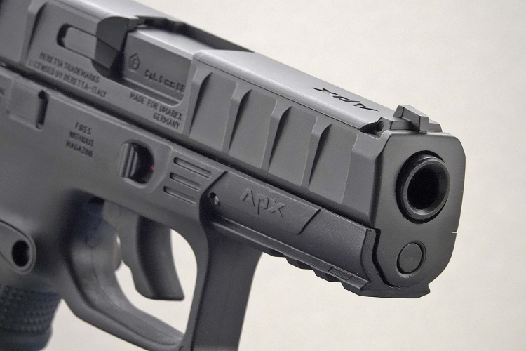 An engaging front view of the Beretta APX pistol