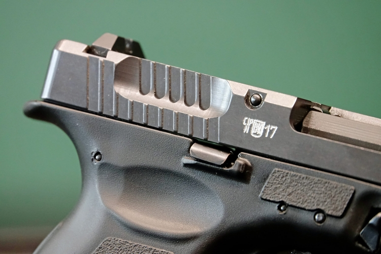 The peculiar rear slide serrations of the CSA Vz.15 pistol