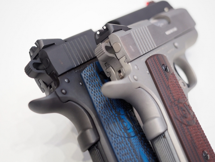 A comparison of the extended beavertails on the Colt Defender and Colt Competition pistols