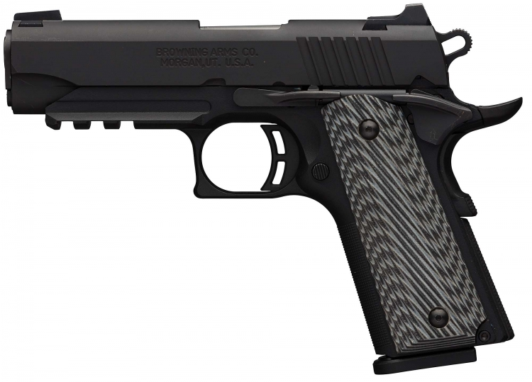 The Browning Black Label 1911-380 Pro Compact pistol in its railed version