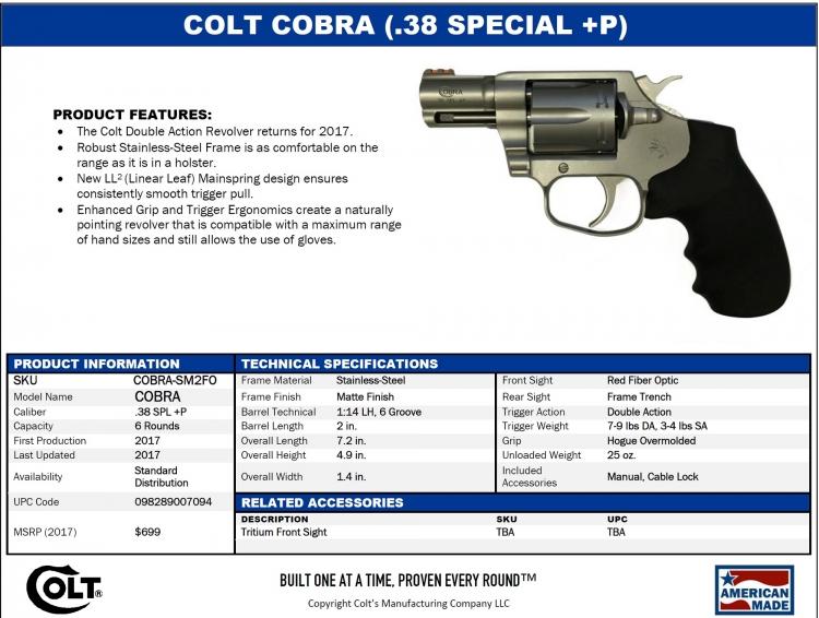 The specs sheet for the new Colt Cobra revolver