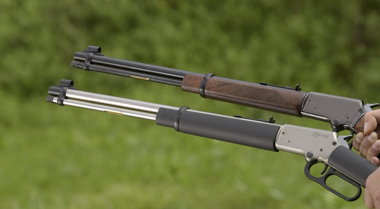 The two .22 Long Rifle caliber Chiappa Firearms LA322 rifles variants tested: top, the Deluxe; bottom, the Kodiak Cub