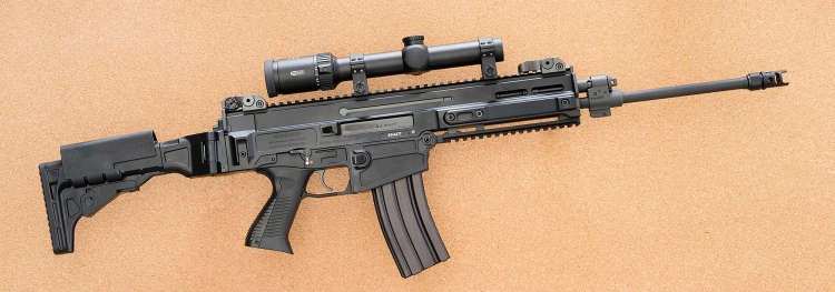 The CZ 805 BREN S1 semi-automatic carbine, seen from the right side