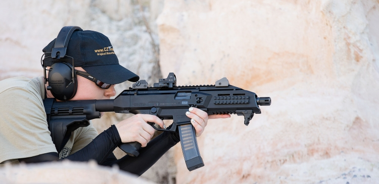 "The 7.5"" version of the CZ Scorpion EVO 3 is sold on the U.S. market as a stockless pistol and can be fit with an armbrace"