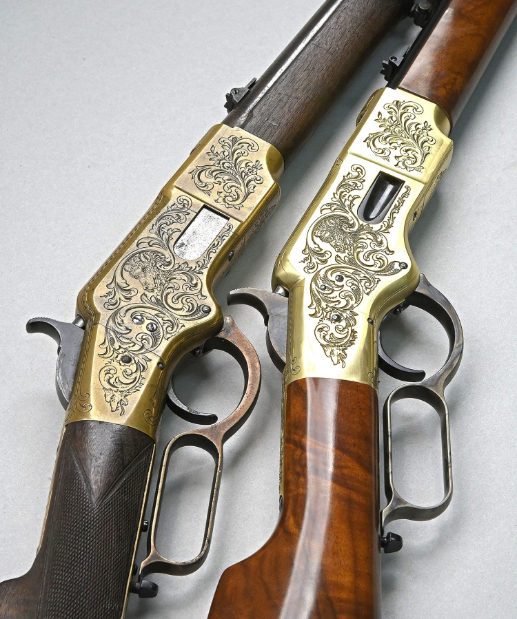 The Uberti replica (engraved or plain) realized for the 150 years of the Winchester 1866 has been designed after an original 1866 rifle found in Italy