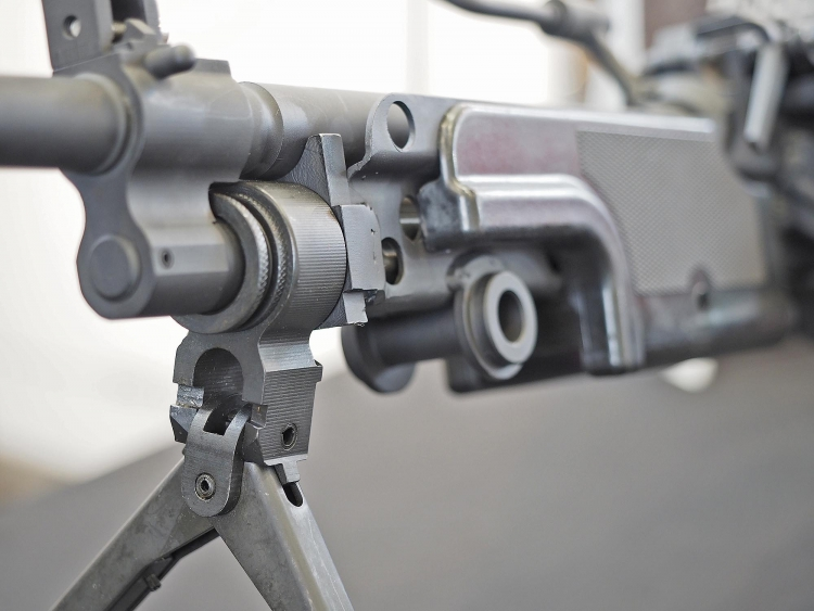 Just like the original Minimi, the Astra MG556 comes with an underfolding bipod