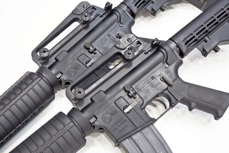 "The Colt M4 ""Commando"" semi-automatic carbines are plain-jane civilian versions of the Colt M4 and M933 assault rifles"