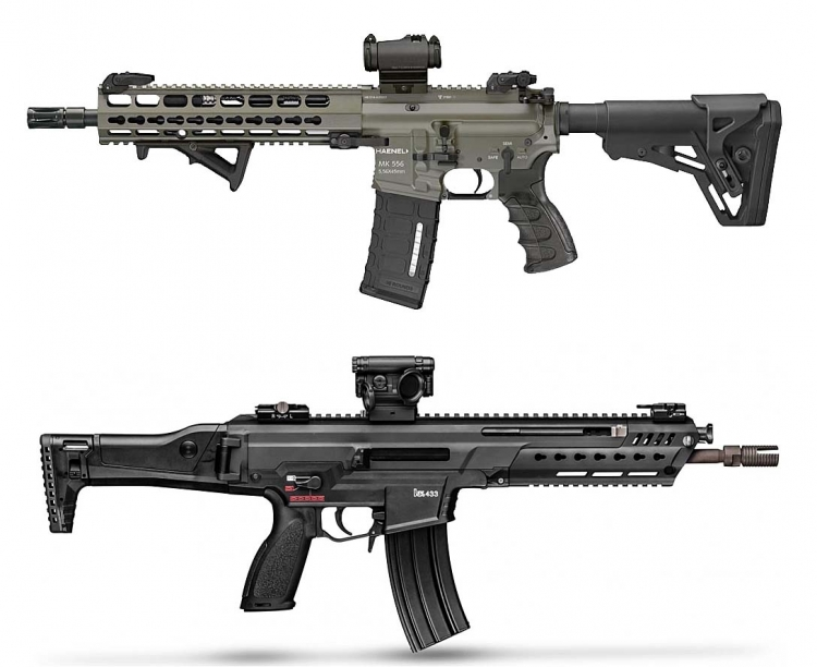 The Haenel MK 556 (top) and the Heckler & Koch HK-433 (bottom)