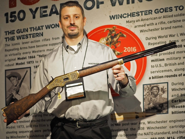 The Winchester 1866 commemorative rifle presented this year at SHOT Show