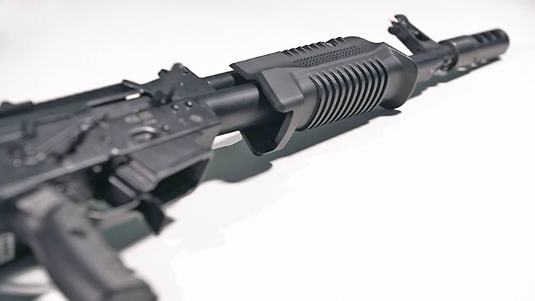 The sliding forend on the Saiga KSZ-223 rifle
