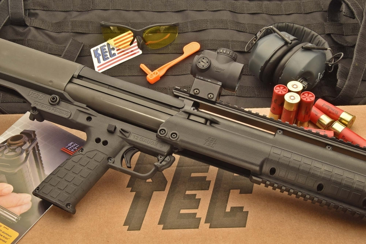 The Kel-Tec KSG 12-gauge pump-action shotgun