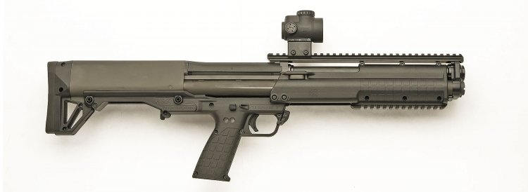 Right side of the Kel-Tec KSG pump-action shotgun