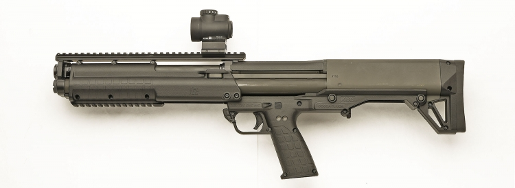 Left side of the Kel-Tec KSG pump-action shotgun