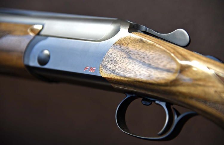 Close view of the body and trigger guard of the Blaser F16 Sporting version