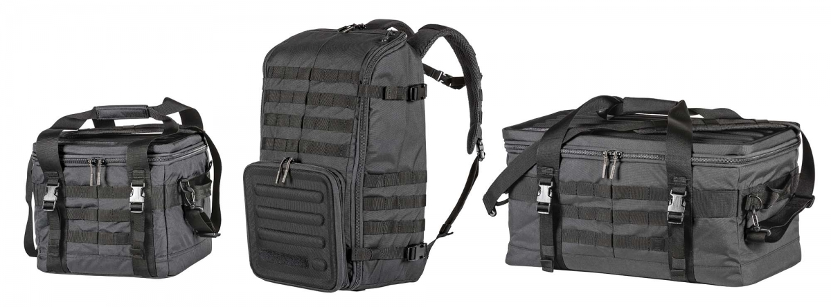 "Left to right: the 5.11 Range Master ""Qualifier"", ""Backpack"" and Duffel"" bags"