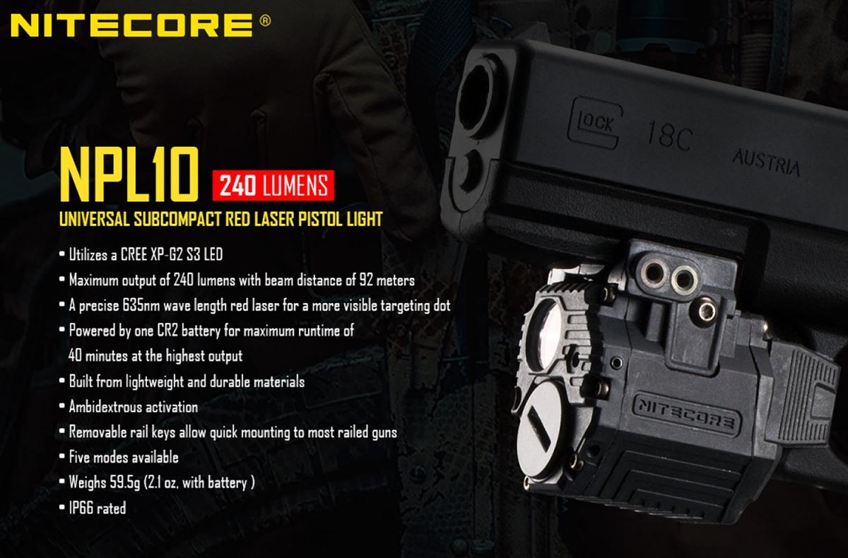 Nitecore NPL10, nuova torcia tattica per pistole