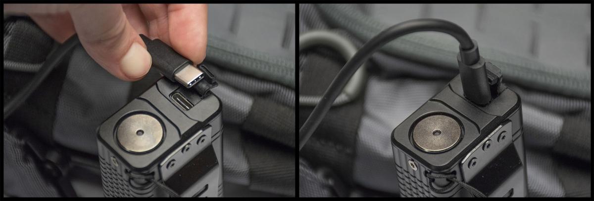 La torcia Nitecore TM10K si ricarica via porta USB