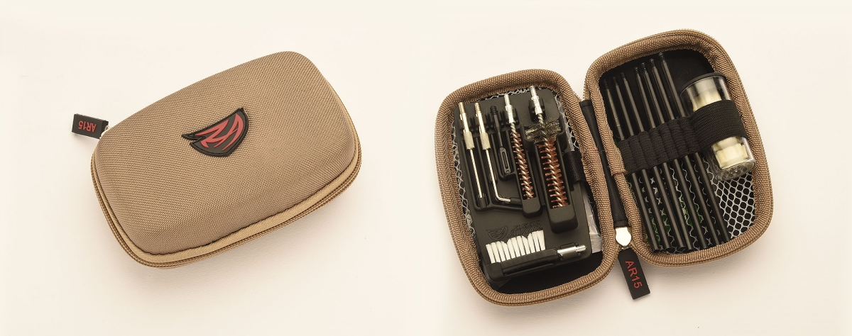 The Real Avid Gun Boss AR-15 cleaning kit's pouch is available in coyote tan or digital camo variants