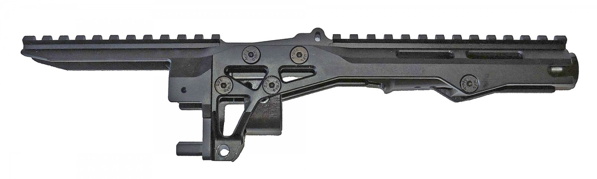 The SAG AK Chassis MK2 seen without the handguard: the integrated trunnion is clearly spotted underneath the aluminum structure