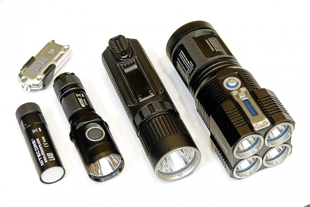 Nitecore flashlights, from left: LA10 CRI, MH20GT, SRT9, TM28