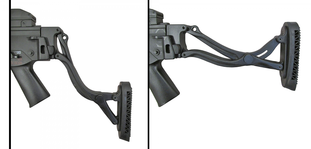 The image shows how the stock can be moved to be positioned depending on the tactical equipment used or operative situation